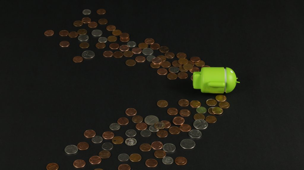 Forget Pocket Change - Android character swimming through a sea of pocket change.
